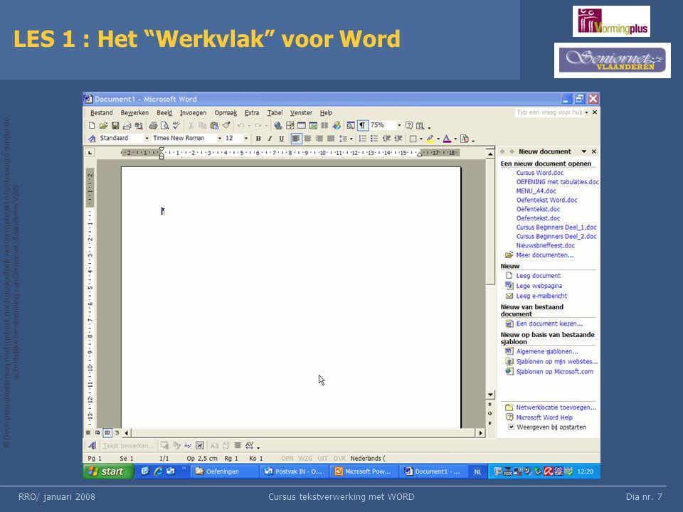 LES 1 : Het Werkvlak voor Word
