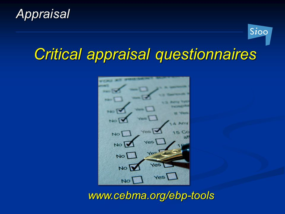 Critical appraisal questionnaires