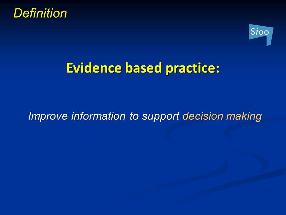 Evidence based practice: