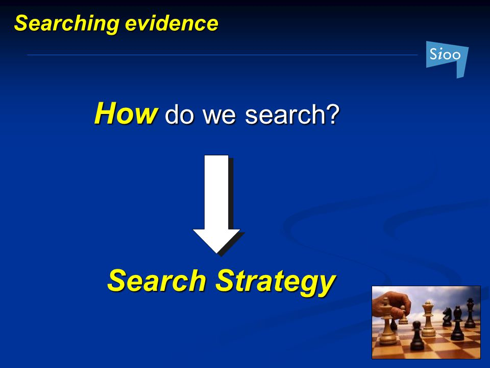 Searching evidence How do we search Search Strategy