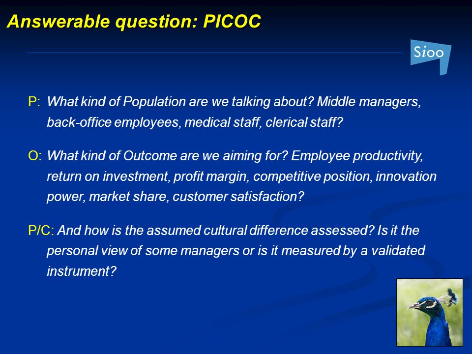 Answerable question: PICOC