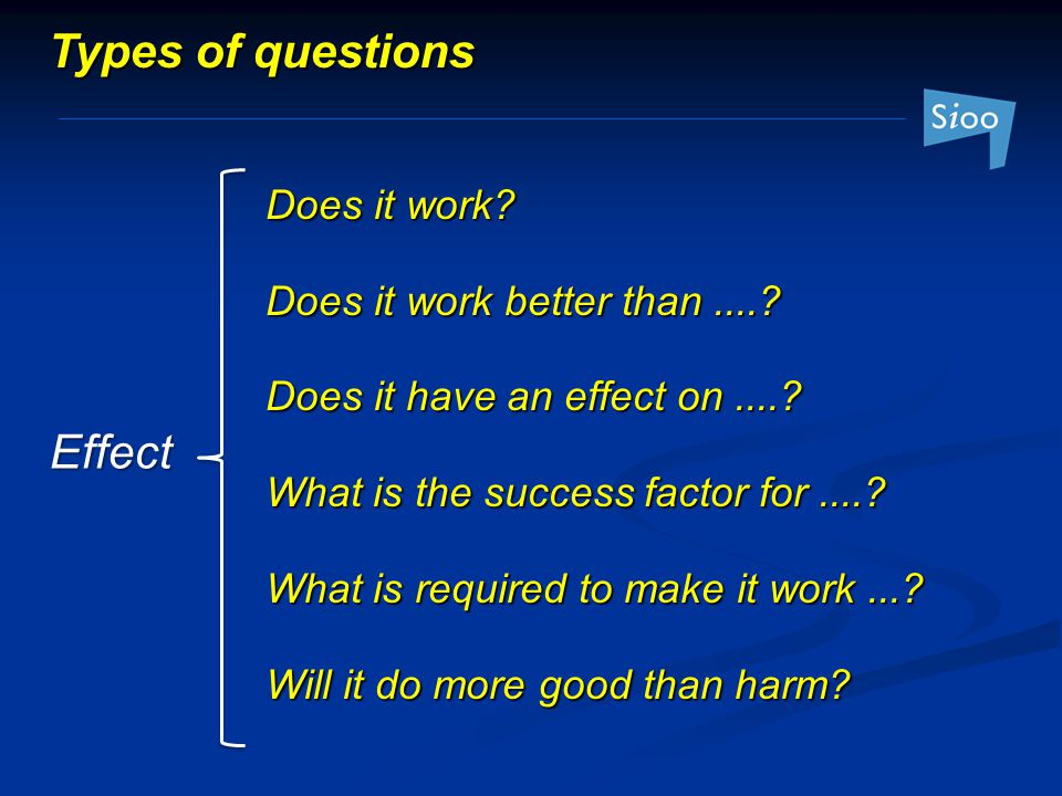 Types of questions Effect Does it work Does it work better than ....