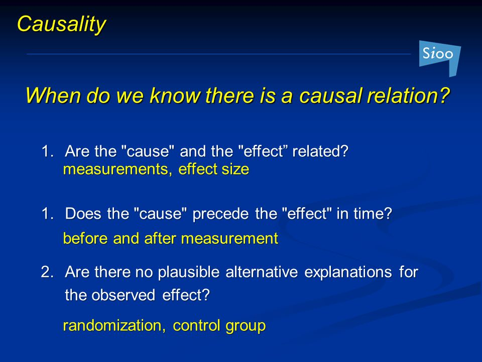 When do we know there is a causal relation
