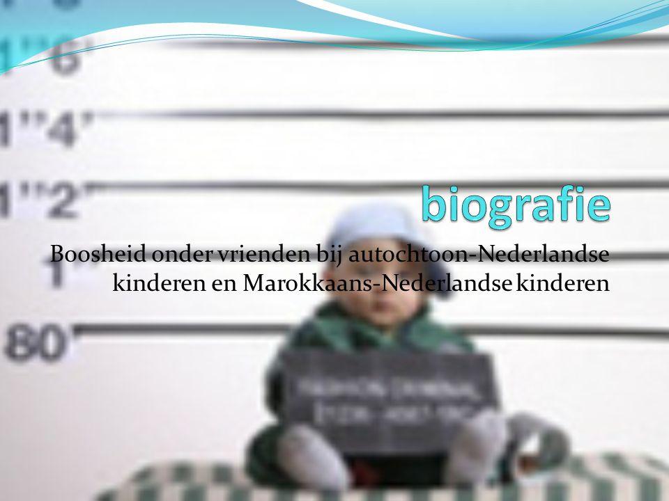 biografie Boosheid onder vrienden bij autochtoon-Nederlandse kinderen en Marokkaans-Nederlandse kinderen.