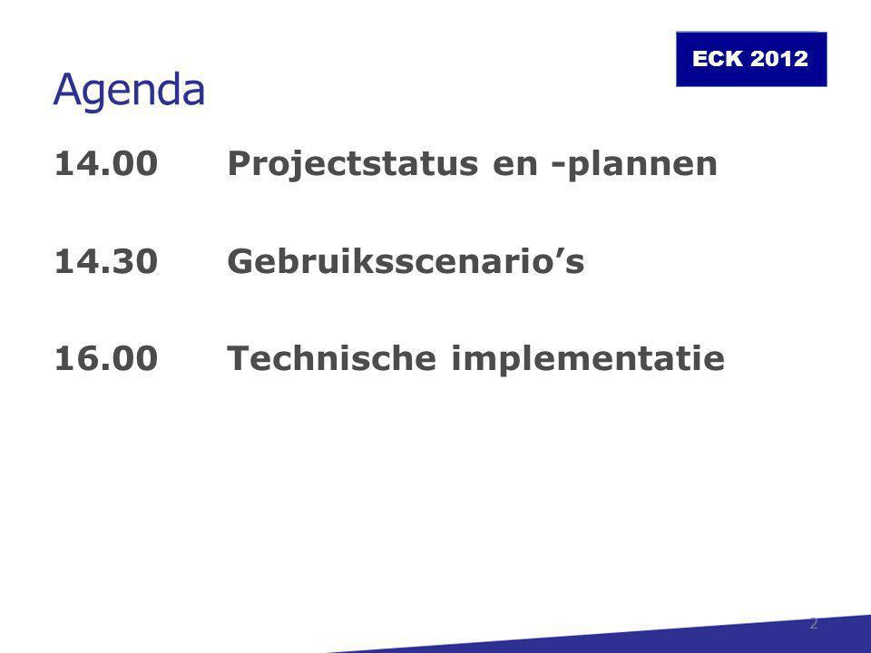 Agenda 14.00 Projectstatus en -plannen 14.30 Gebruiksscenario's 16.00 Technische implementatie