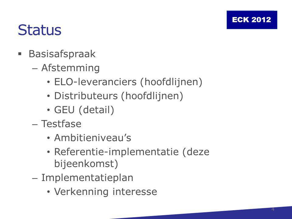 Status Basisafspraak Afstemming ELO-leveranciers (hoofdlijnen)