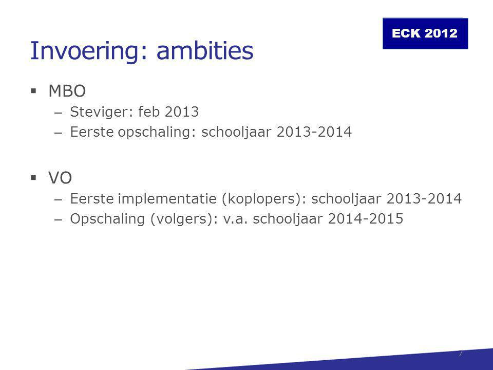 Invoering: ambities MBO VO Steviger: feb 2013