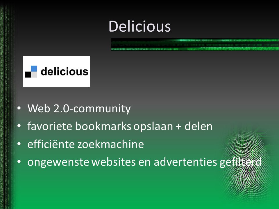Delicious Web 2.0-community favoriete bookmarks opslaan + delen