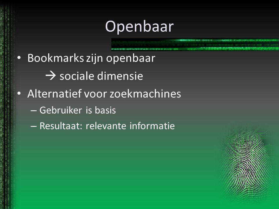 Openbaar Bookmarks zijn openbaar  sociale dimensie