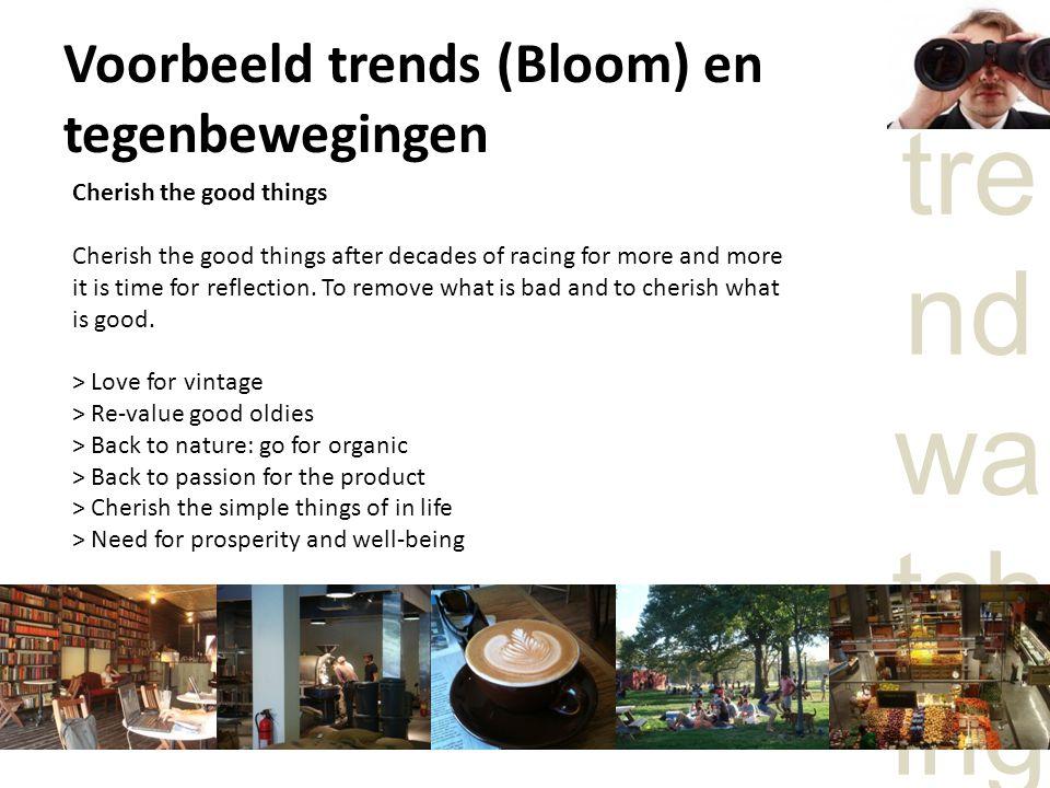 Voorbeeld trends (Bloom) en tegenbewegingen