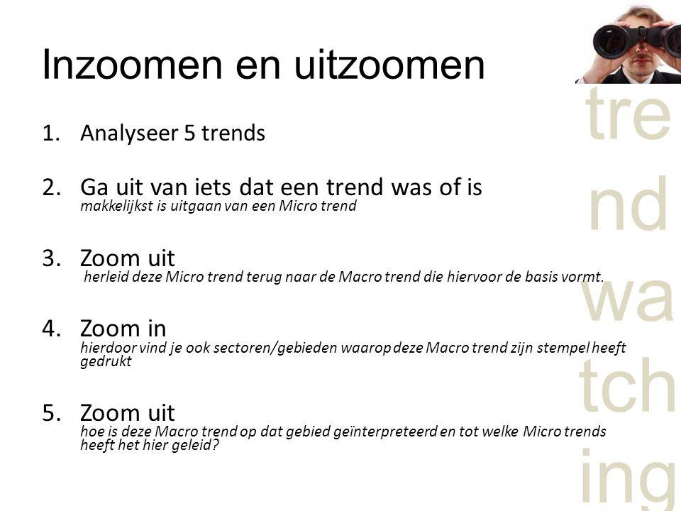 Inzoomen en uitzoomen Analyseer 5 trends. Ga uit van iets dat een trend was of is makkelijkst is uitgaan van een Micro trend.