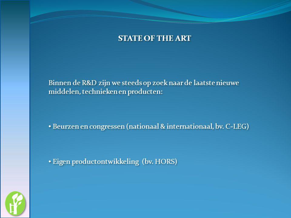 11/05/2010 STATE OF THE ART. Binnen de R&D zijn we steeds op zoek naar de laatste nieuwe middelen, technieken en producten: