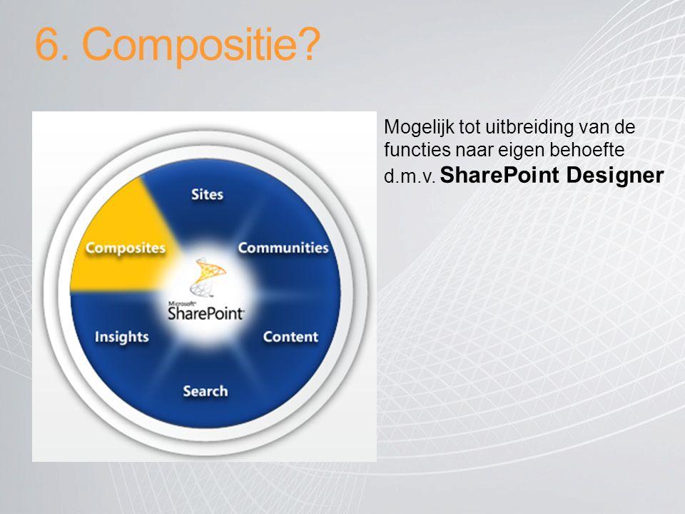 6. Compositie. Mogelijk tot uitbreiding van de functies naar eigen behoefte d.m.v.