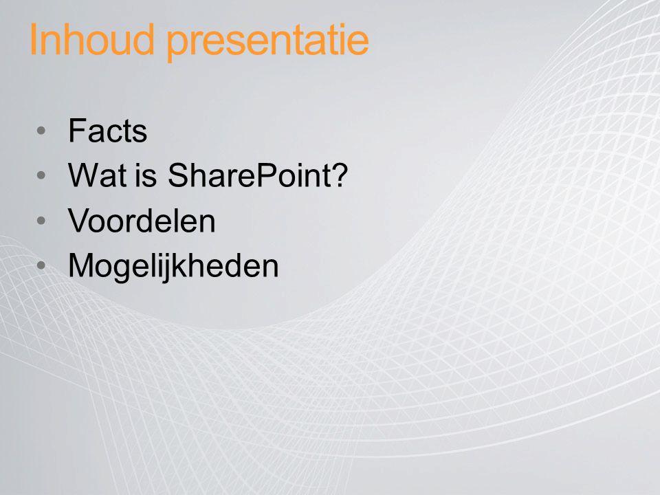Inhoud presentatie Facts Wat is SharePoint Voordelen Mogelijkheden