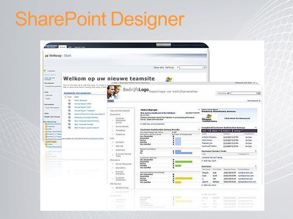 SharePoint Designer Het concept achter SharePoint Designer is simpel.