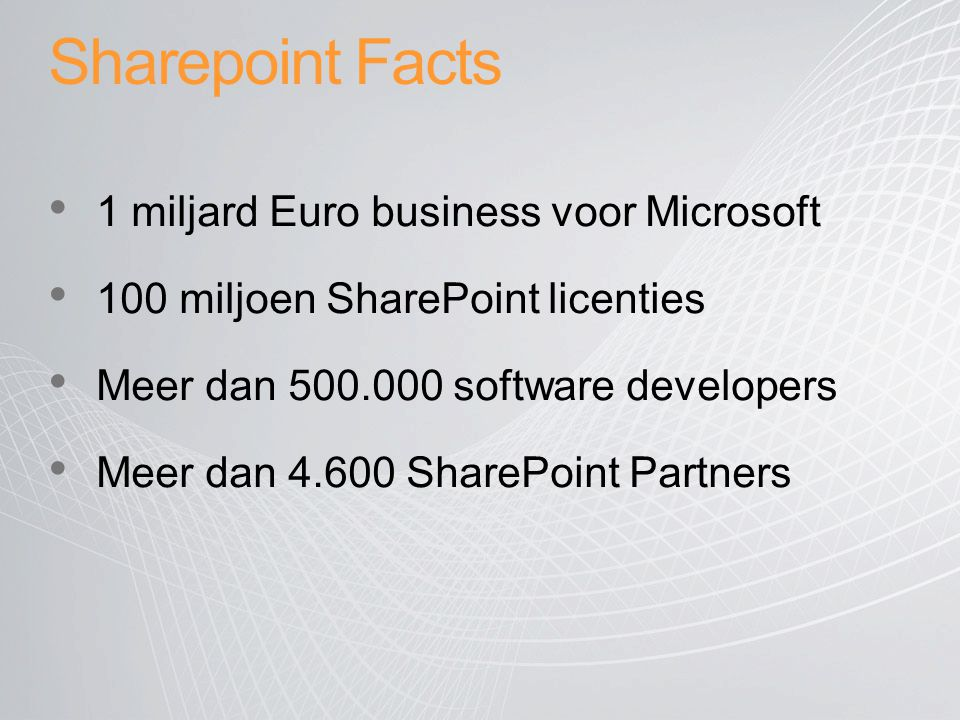 Sharepoint Facts 1 miljard Euro business voor Microsoft