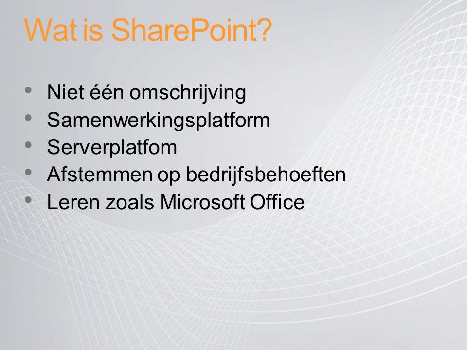 Wat is SharePoint Niet één omschrijving Samenwerkingsplatform