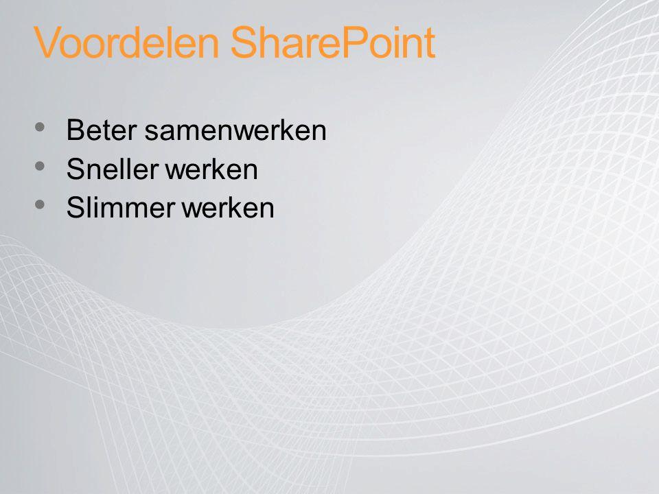 Voordelen SharePoint Beter samenwerken Sneller werken Slimmer werken