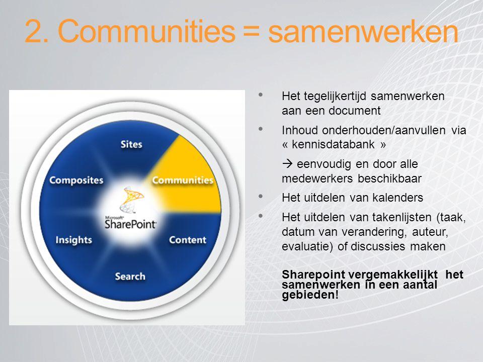 2. Communities = samenwerken