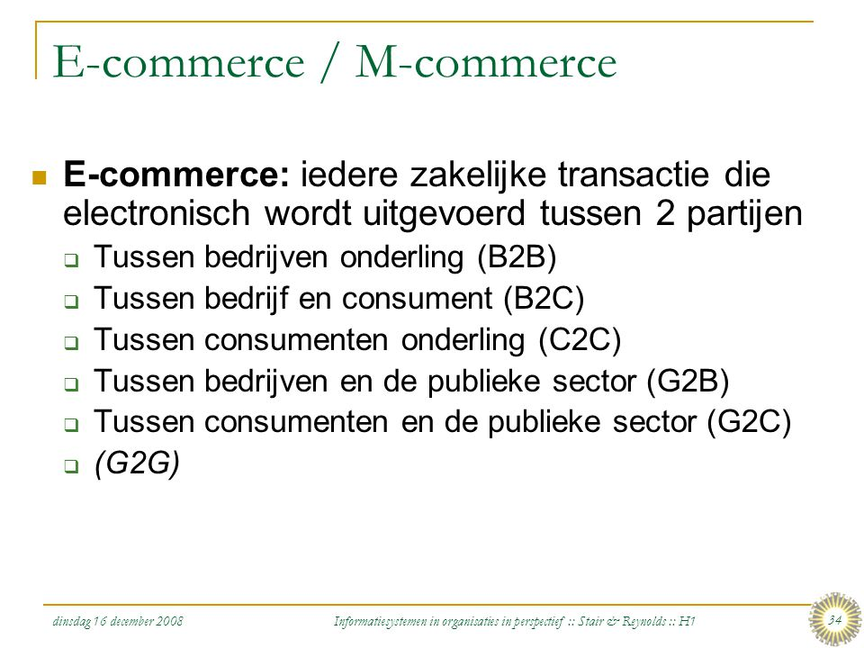 E-commerce / M-commerce