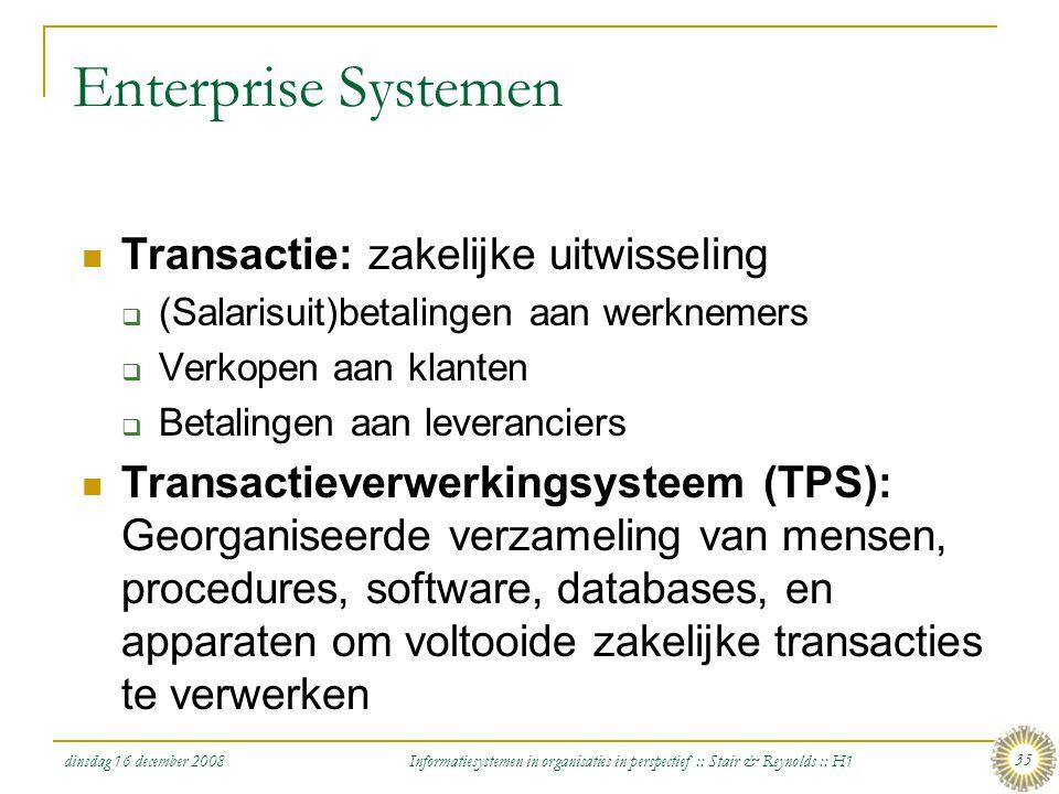 Enterprise Systemen Transactie: zakelijke uitwisseling