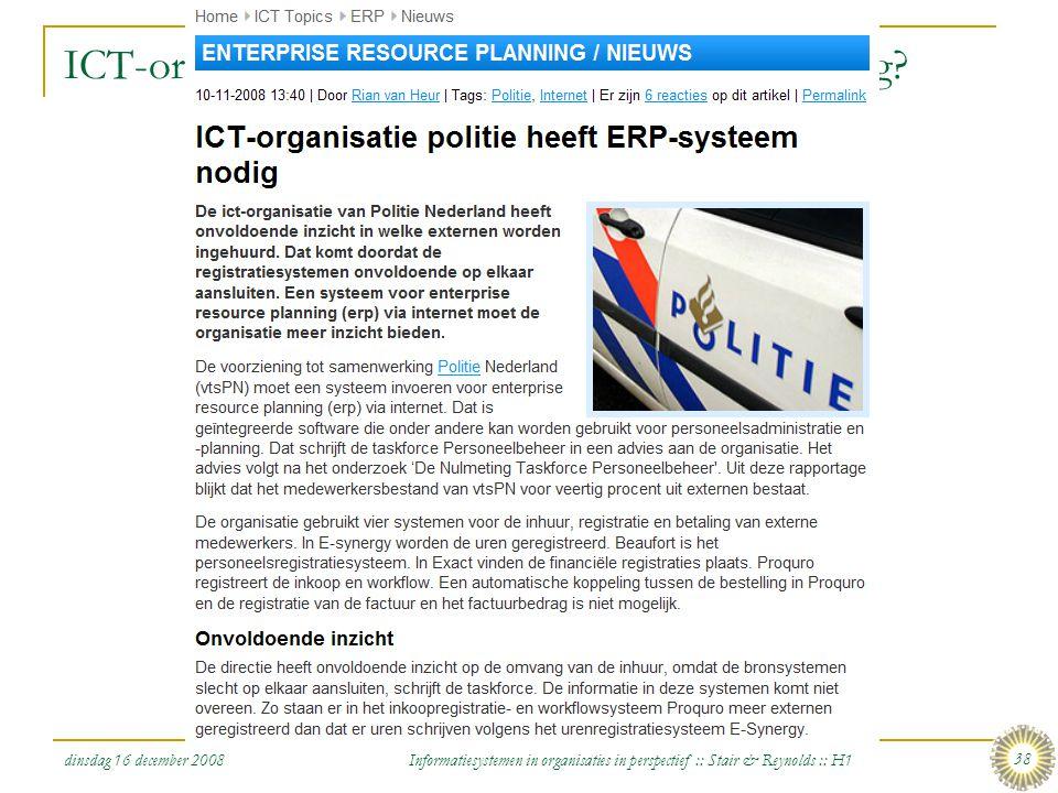 ICT-organisatie politie heeft ERP-systeem nodig