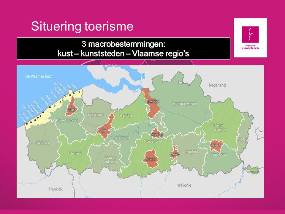 Situering toerisme 3 macrobestemmingen: kust – kunststeden – Vlaamse regio's. Oost-Vlaanderen. Toerisme.