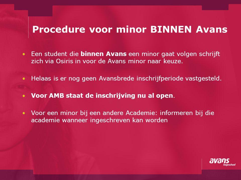 Procedure voor minor BINNEN Avans