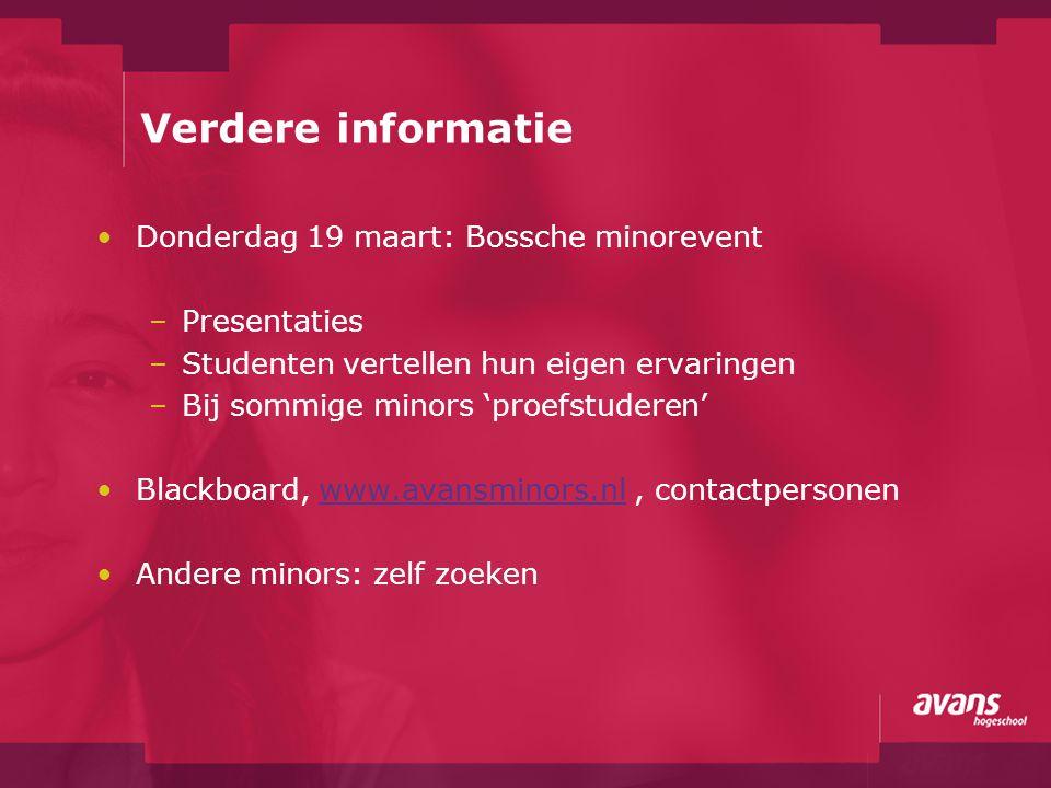 Verdere informatie Donderdag 19 maart: Bossche minorevent Presentaties