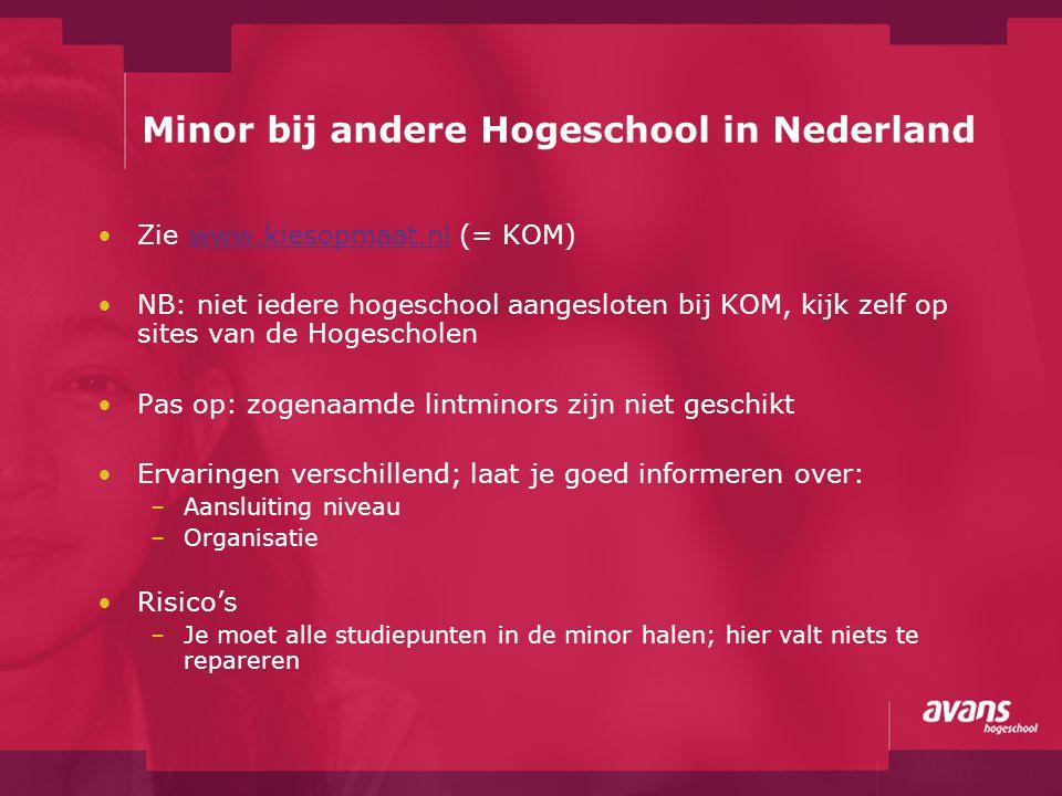 Minor bij andere Hogeschool in Nederland