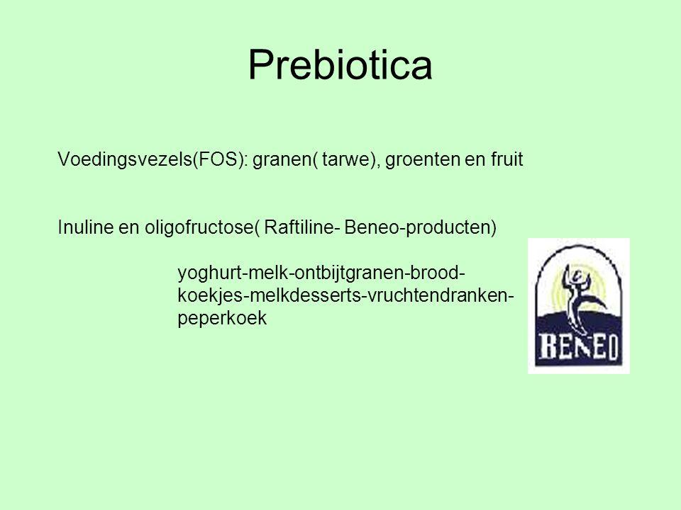 Prebiotica Voedingsvezels(FOS): granen( tarwe), groenten en fruit