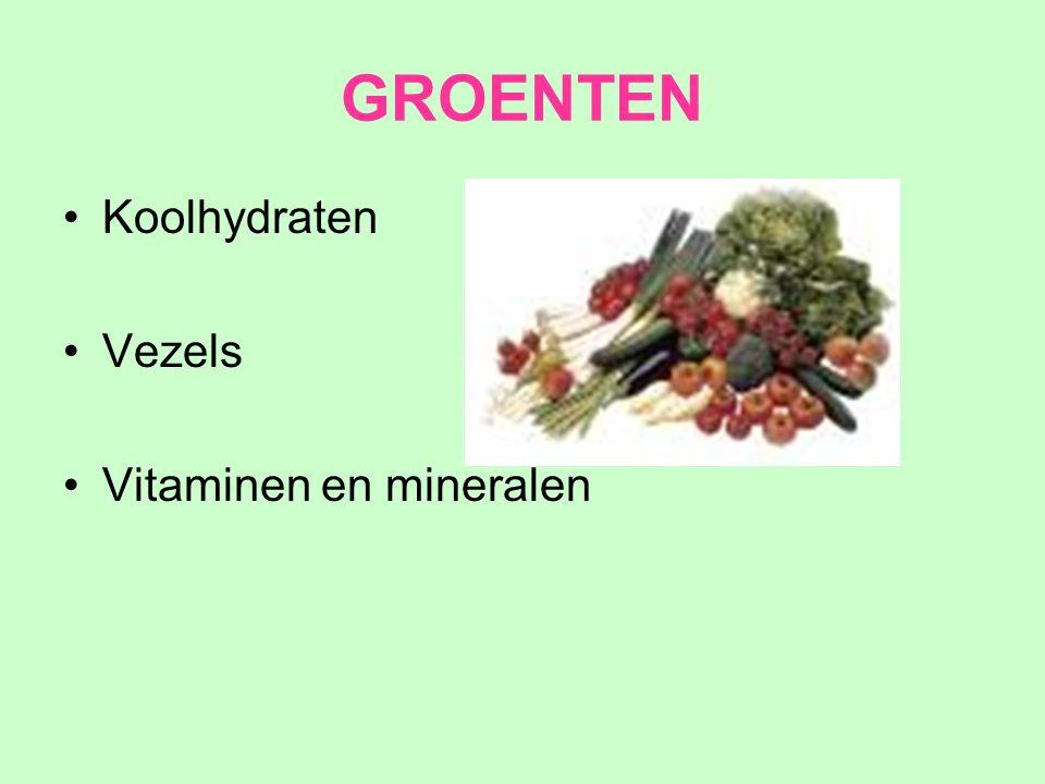 GROENTEN Koolhydraten Vezels Vitaminen en mineralen