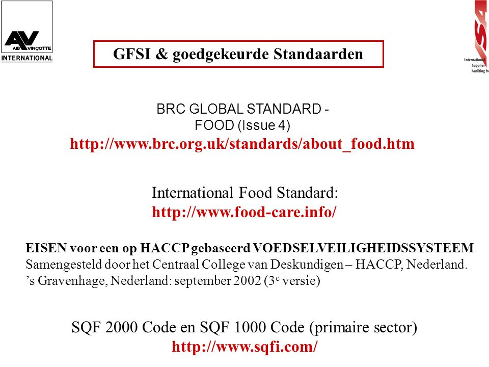 GFSI & goedgekeurde Standaarden