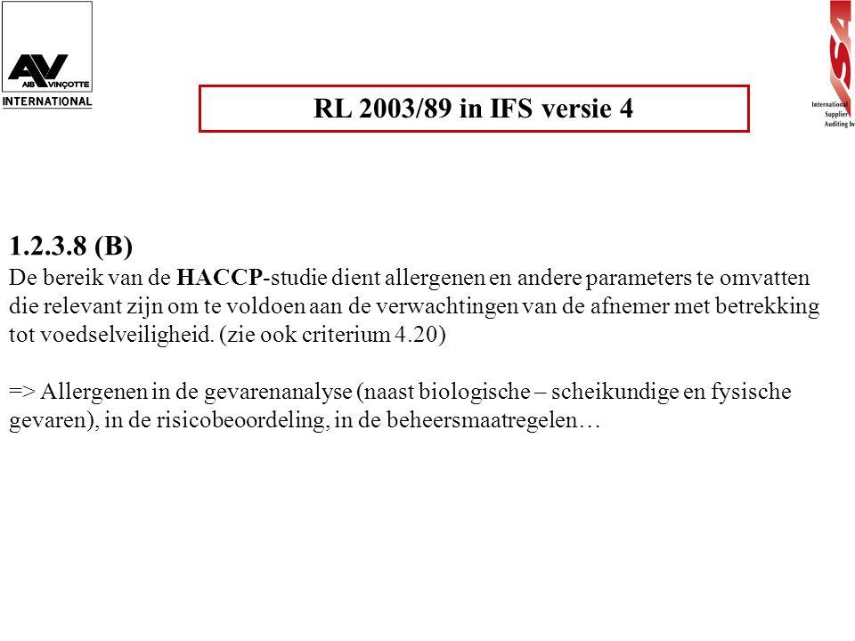 RL 2003/89 in IFS versie 4 1.2.3.8 (B)