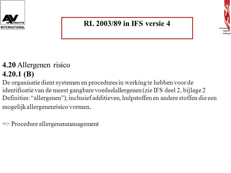 RL 2003/89 in IFS versie 4 4.20 Allergenen risico 4.20.1 (B)