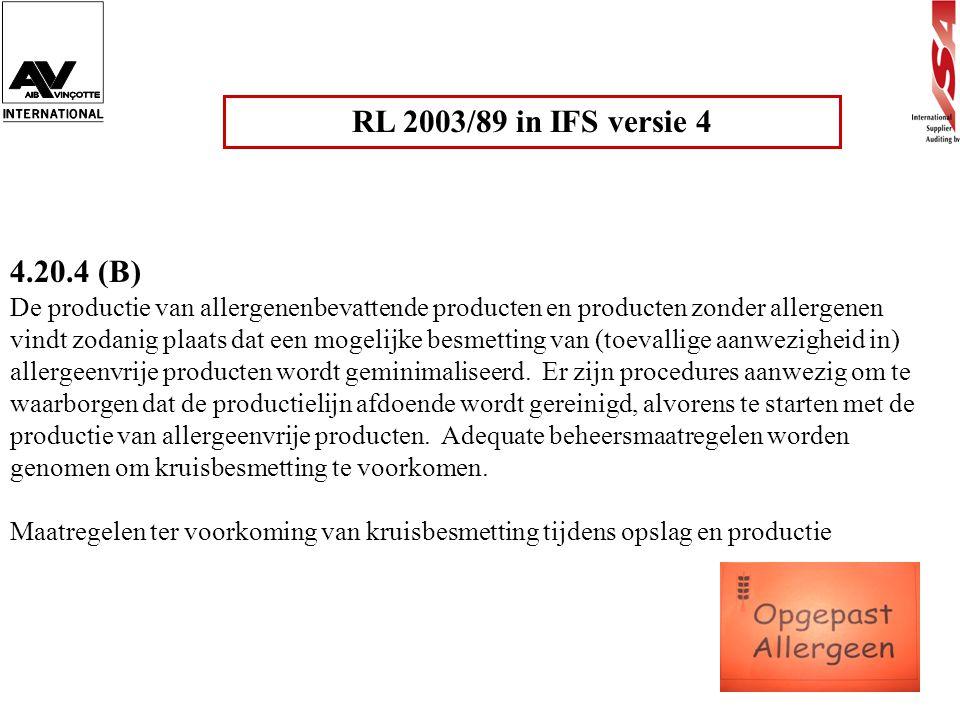 RL 2003/89 in IFS versie 4 4.20.4 (B)