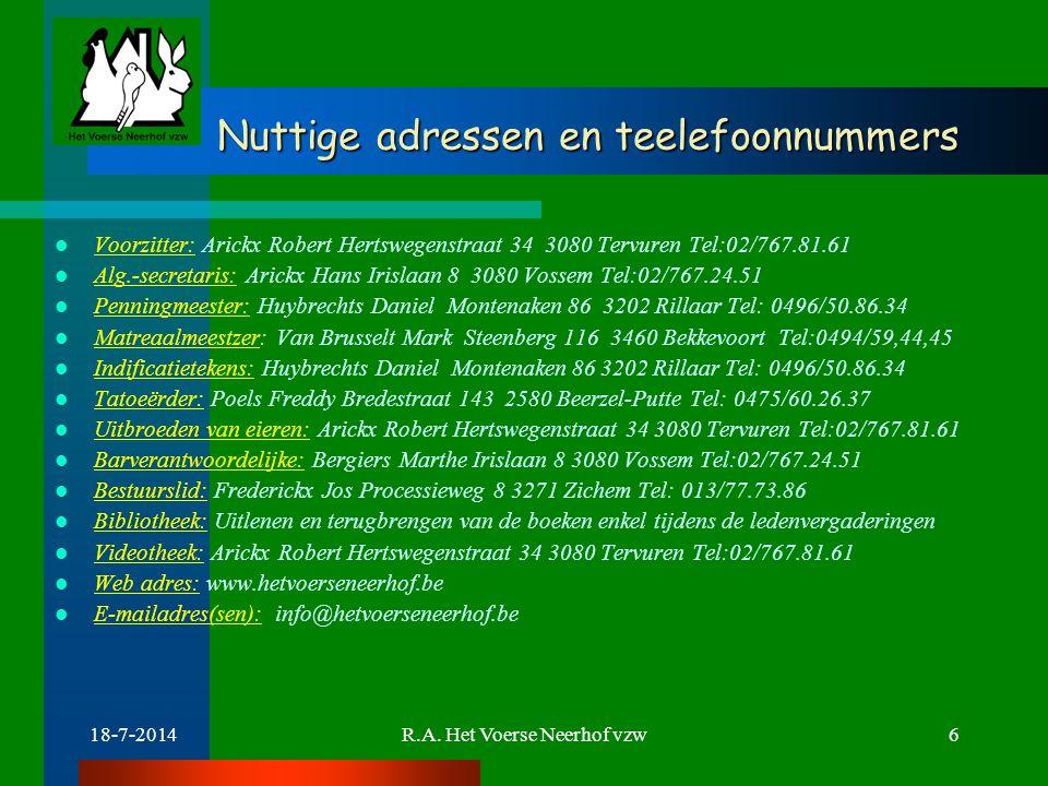 Nuttige adressen en teelefoonnummers