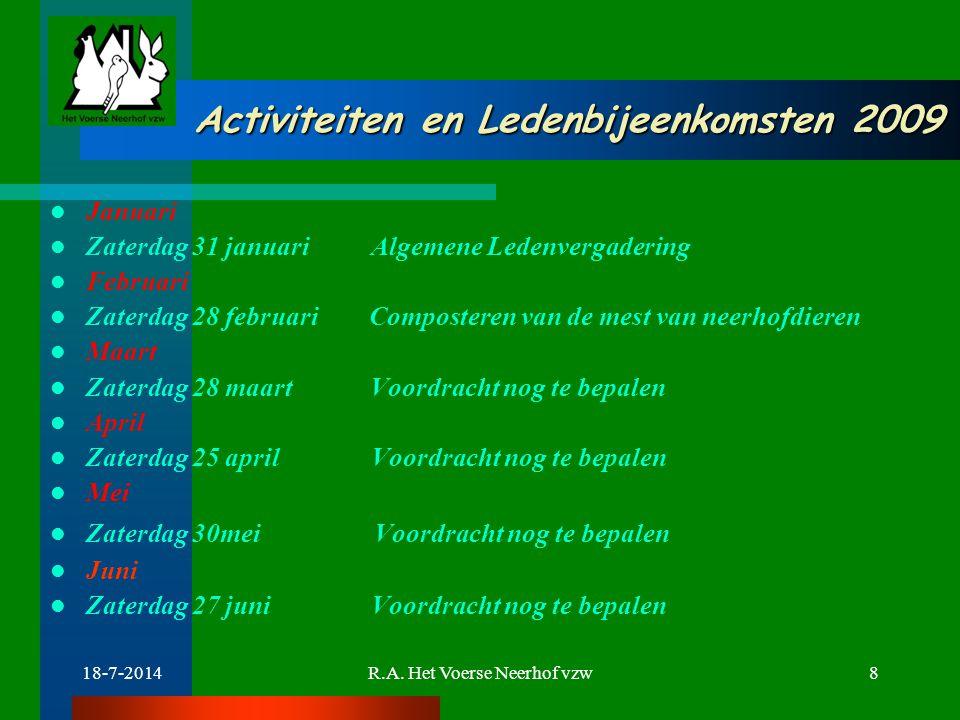 Activiteiten en Ledenbijeenkomsten 2009