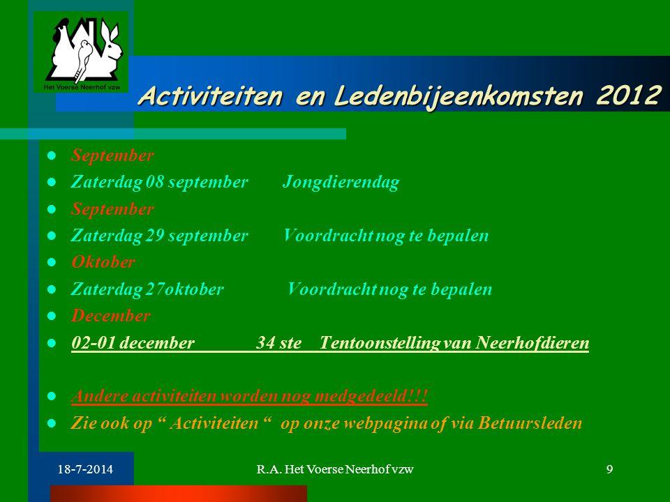 Activiteiten en Ledenbijeenkomsten 2012