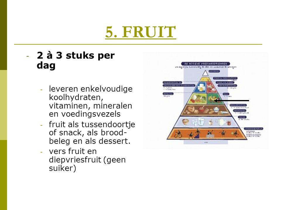 5. FRUIT 2 à 3 stuks per dag. leveren enkelvoudige koolhydraten, vitaminen, mineralen en voedingsvezels.