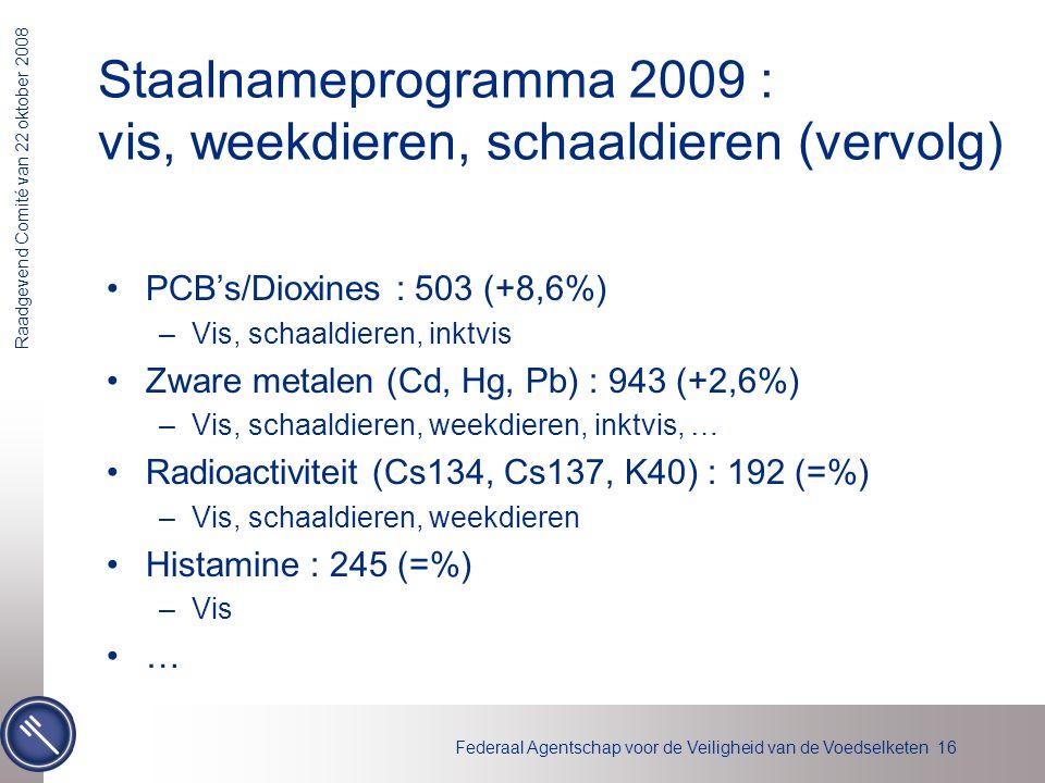 Staalnameprogramma 2009 : vis, weekdieren, schaaldieren (vervolg)