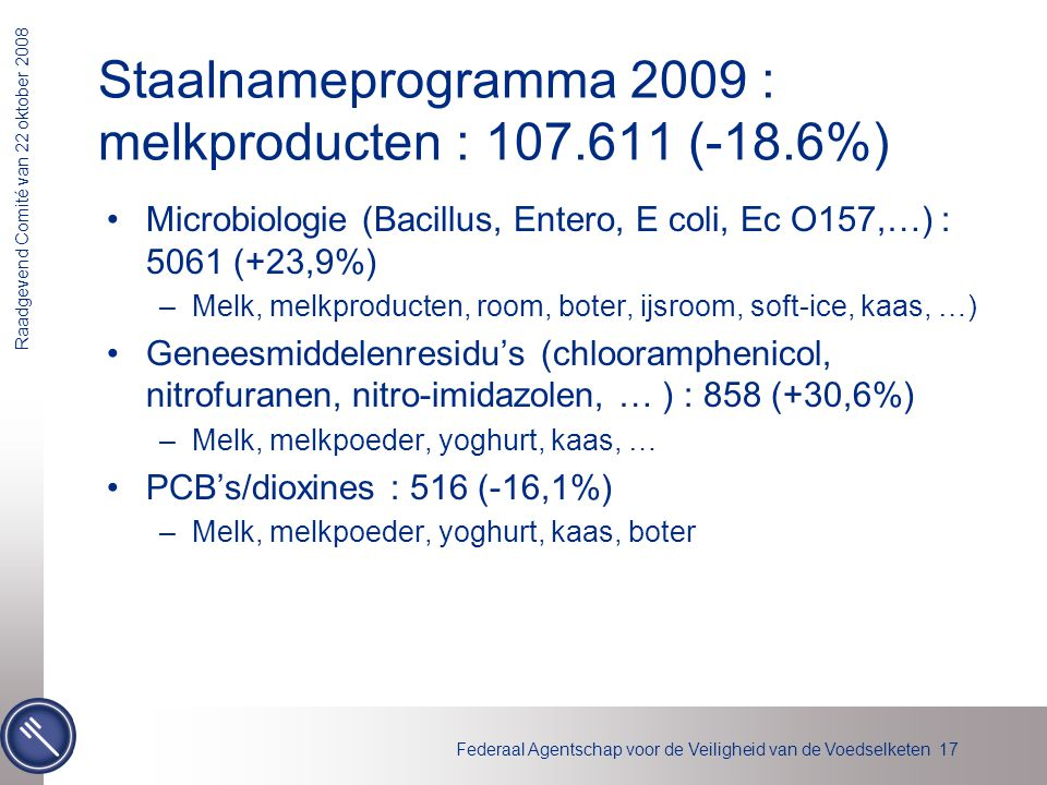 Staalnameprogramma 2009 : melkproducten : 107.611 (-18.6%)