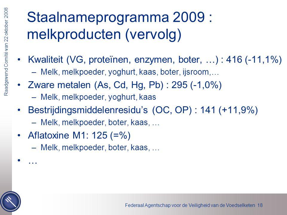 Staalnameprogramma 2009 : melkproducten (vervolg)