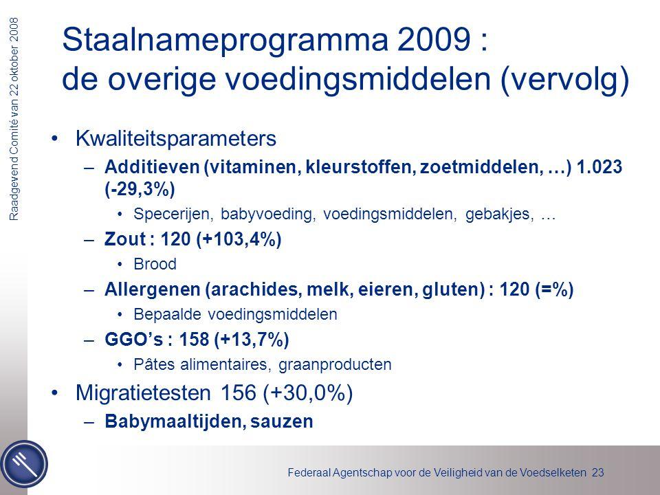 Staalnameprogramma 2009 : de overige voedingsmiddelen (vervolg)