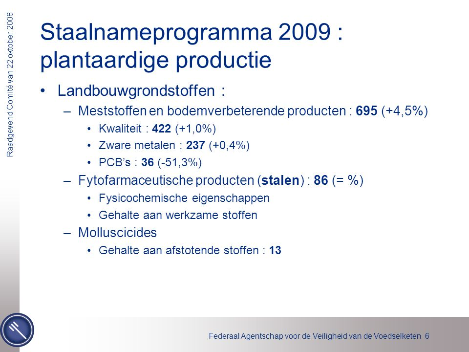 Staalnameprogramma 2009 : plantaardige productie