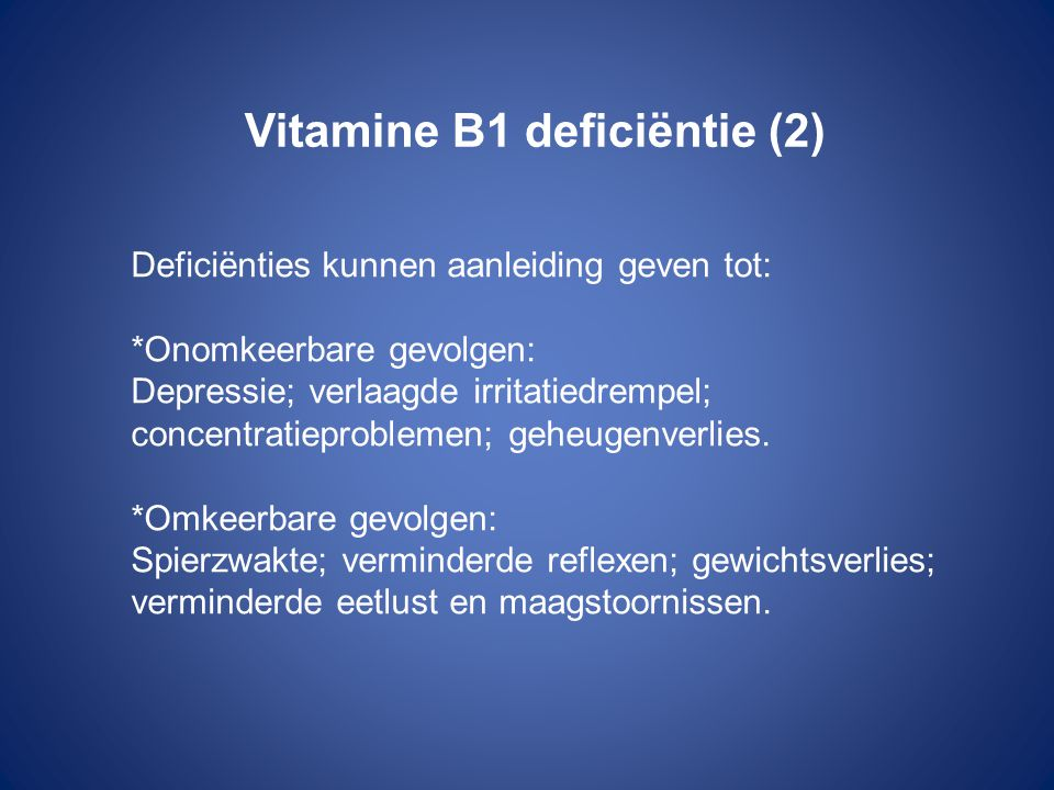 Vitamine B1 deficiëntie (2)