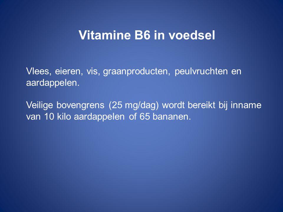 Vitamine B6 in voedsel Vlees, eieren, vis, graanproducten, peulvruchten en aardappelen.