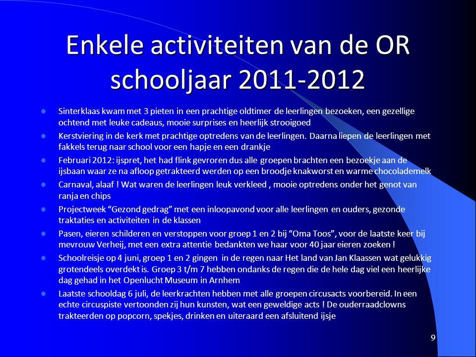 Enkele activiteiten van de OR schooljaar 2011-2012