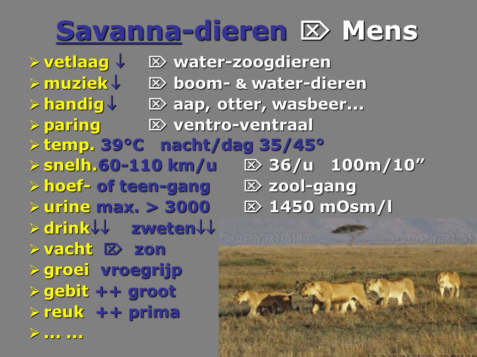 Savanna-dieren  Mens vetlaag   water-zoogdieren