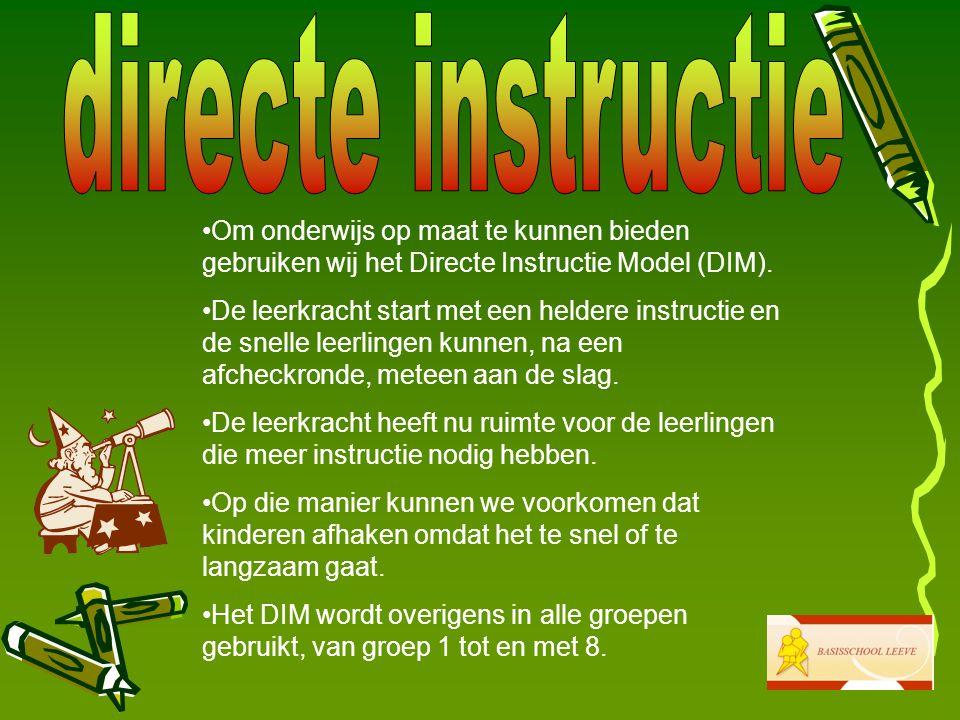 directe instructie Om onderwijs op maat te kunnen bieden gebruiken wij het Directe Instructie Model (DIM).
